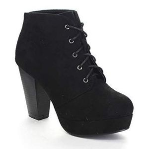 Black lace-up chunky heel booties